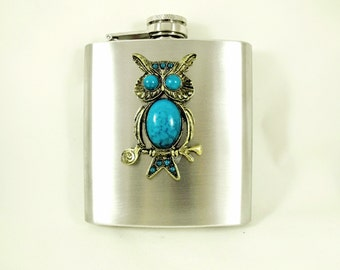Flask,  Steampunk Owl Bronze and Turquoise Mens Womens Gift Idea Wedding Favors  Handmade