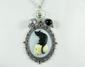 Silver Cameo Pendant Necklace,   Gothic Black Cat and Skull With Charms And Pearls   Womens Gift  Handmade