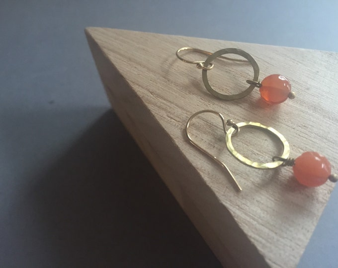 Hammered Brass Circle Earrings with Carnelian Stones