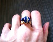 Brass wire wrapped Lapis Lazuli ring made to order