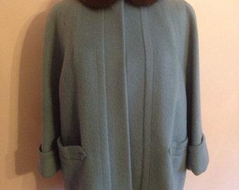 Vintage 1950s steel blue wool swing jacket with mink collar