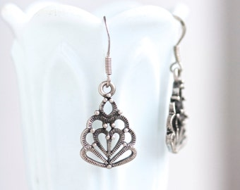 Dark Silver Earrings - Sterling Silver - Gothic Dangle Earrings