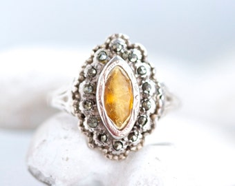 Antique Art Deco Ring - Sterling silver Gold and marcasite Gothic ring size 6.5