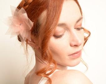 Peach bridal flower hair clip - lotus