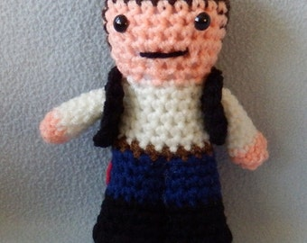 Made to order, Hand crocheted Star Wars Han Solo Amigurumi Doll