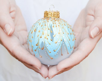 Christmas Ornament, glass bauble, tree ornament, glass ball, pale blue, hand painted, Fabere inspired || FROZEN ICE