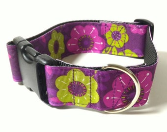 """1.5"""" Dog Collar or Martingale - Purple Flowers - Choose From Many Sizes"""
