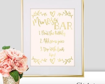 Mimosa Bar Sign - Mimosa Bar Wedding Sign - Gold Mimosa Bar - Gold Wedding Decorations - Mimosa Bar Print - Wedding Mimosa Bar