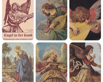 Angels. Complete Set of 5 Vintage German Postcards in original cover -- 1957