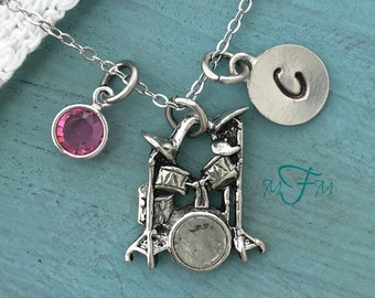 Drum Charm Necklace, Personalized Necklace, Silver Pewter Drum Set Charm, Custom Necklace, Swarovski Crystal birthstone, monogram
