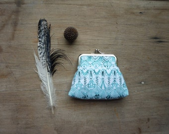 Teal purse, owl feather coin purse, aqua clutch, geometric purse, turquoise Thistle and Fox design, white and blue, sketch, drawing