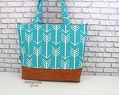 Extra Large Lulu Tote Diaper Bag -SALE- Coastal Blue Arrows and PU Leather - 7 pockets Nappy Bag Washable- Attach to Stroller