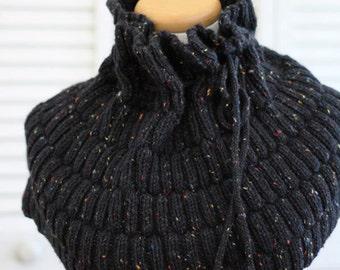 Knitting Pattern Cowl - Wool Tweed Black Charcoal