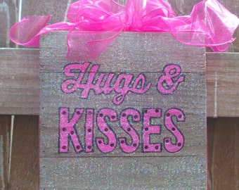 Lighted boxes, boxes with lights, Hugs and Kisses, pink decor, wooden lighted boxes, light decor, bedroom decor, little girl's room decor