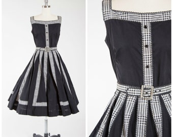 Vintage 1950s Dress • Beat Basics • Black White Cotton 50s Dress by Carlye Size Small
