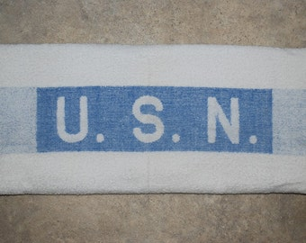 """Vintage 1940's USN Standard Issue White Terrycloth US Navy Bath Towel - WWII Era - 42"""" by 22"""""""