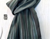 Mens Gift, Mens Silk Scarf Handpainted, Gift Wrapped, Reversible Moss Green Stripes Scarf, Japanese Mens Scarf, Winter scarf, 14x72 inches.