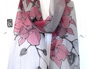 Small Silk Scarf Handpainted, Gift for women, Birthday Gift, Gray Scarf, Red and Black Orchids Scarf, Silk chiffon Scarf, 8x54 inches