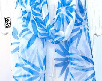 Silk Scarf Handpainted, Gift for Women Scarf, Birthday Gift, Silk Scarf Blue, Blue Hanabi Flowers Scarf, Silk Chiffon Scarf, 11x60 inches.