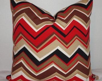 OVERSTOCK OUTDOOR Pillow Zig Zag Maroon Burgandy Black Brown Chevron Deck Patio Pillow Cover 18x18