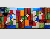 Arts and crafts stained glass window panel multi color stained glass panel window hanging mission prairie style 0149 23 x 9