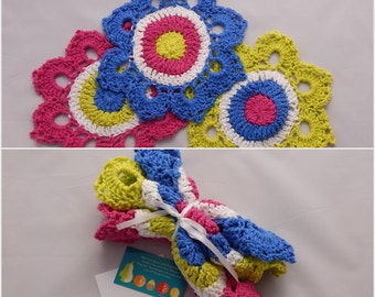 Crochet Dishcloth Gift Set – Includes Gift Card – Bright Blue, Pink and Lime Green