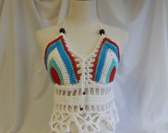 Crochet Halter Top - Sexy Lace Up Boho Festival Top With Beads - Red, Green and Blue