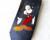 Vintage 80's 90's Doolim Ind Disney, Mickey Unlimited, Mickey Mouse Polyester Necktie, Novelty, Souvenir Necktie,  Fun Necktie