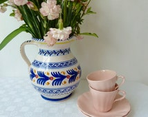 Vintage Pair of 1930's 40's J & G Meakin Rosa Sol Glamour Shape Coffee Cups and Saucers, Art Deco Coffee Cups and Saucers