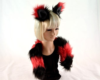 Kitty Cat Ear Tail Clip On Combo in Faux Fur Red and Black