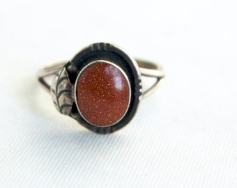 Mexican Goldstone Ring Size 8 .75 Vintage Sterling Silver Gold Stone Statement Jewelry