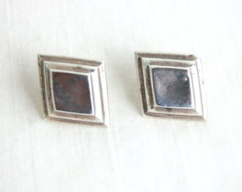 Sterling Silver Diamond Earrings Vintage Layered Diamonds Posts Studs Modern Southwestern Jewelry