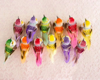 One Dozen Mushroom Birds 12 Assorted Colorful Artificial Birds With Real Feathers / Spring Decorations