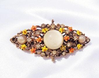 Flower Brooch Enamel, Signed ART Brooch, Vintage Enamel Brooch, Jelly Belly, Vintage Brooch, Enamel Flower Pin, Arthur Pepper, 1960's pin