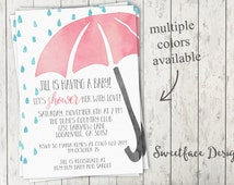 Watercolor Umbrella shower with love baby shower invitation. Pick your color!