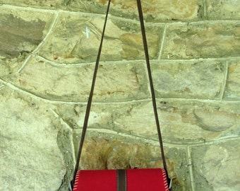 Saddle Bag crossbody bag with leather shoulder bag vintage 80s 90s red fabric purse long strap bag equestrian style preppy hipster handbag