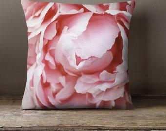 Gardening Gift, Pink Peony Decorative Throw Pillow Cover, Photo Pillow  Cover, Peony Pillow