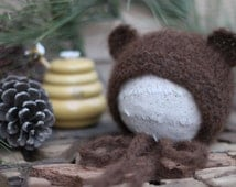 Bear Ears Hand Knitted Baby Alpaca Bonnet Newborn Photo Prop in Chocolate Color. Made to order.