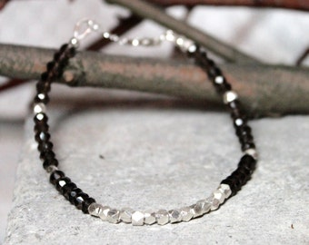 Smoky Topaz and Sterling Silver Beaded Bracelet / Sterling Silver Karen Hill Tribe Nugget Beads and Smoky Topaz Adjustable Bracelet