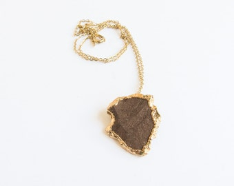 Gold Dipped Arrowhead Vintage Necklace / Actual Arrow head