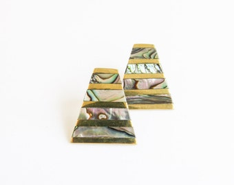 Striped Abalone Triangle & Gold Brass Vintage Earrings
