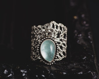 Aquamarine Ring-Sterling Silver Natural Aquamarine Ring-Lace Ring-March Birthstone Ring-Gothic Rings-Unique Rings