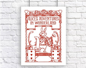 Alice in Wonderland White Rabbit Vintage Large Art Poster Print Red and White Lewis Carroll Nursery