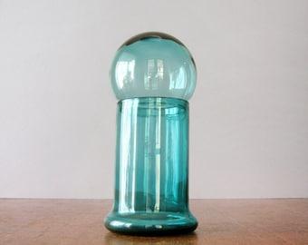 Vintage Empoli Blown Glass Bubble Jar - Teal Blue / Green