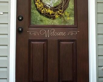 Welcome Decal - Front Door Decal - Front Door Decor - Welcome Sign - Welcome Wall Decal - Vinyl Welcome Decal - Entry Decor - 7001