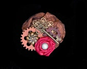 Steampunk Gear Fascinator in Red, Bronze and Copper Steampunk Wedding Fascinator Steampunk Costume Steampunk Hair Clip Steampunk Clothing