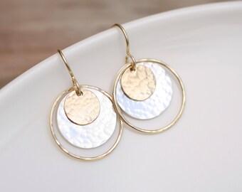 Long Dangle Earrings Geometric Jewelry Gold and Silver Earrings Modern Earrings Bohemian Chic Earrings Gold Earrings Gift For Her