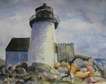 Watercolor Painting Lighthouse original art Lighthouse art CarottasArt