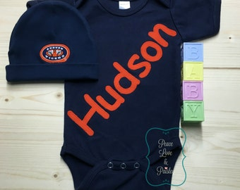 Personalized Baby Bodysuit and Matching Hat with Logo Made from Auburn University Fabric, Auburn Tigers Baby, Auburn Baby, Navy and Orange