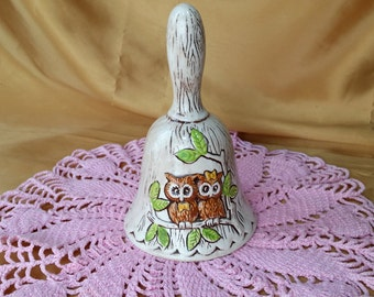 Collectible Owl Bell with 2 Owls Wood design background Treasure Craft TIC raised embossed flowers USA *eb